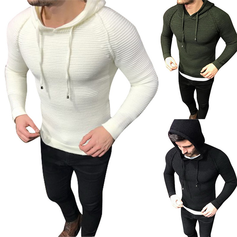 2018 Neue Männer Herbst Mit Kapuze Pullover Männlichen Faashion Pullover Mit Kapuze Pullover Warme Slim Fit Gestrickte Feste Beiläufige Pullover Pullover
