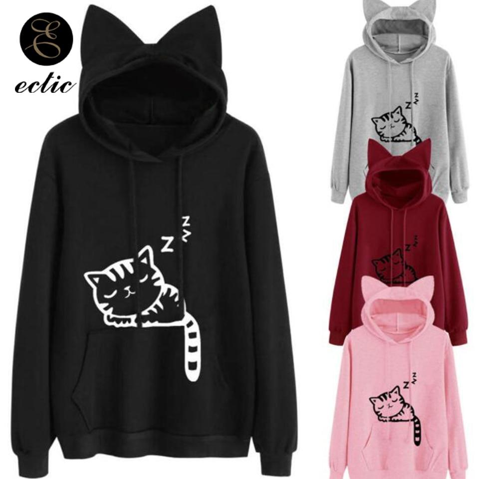 Fabal Ladies Casual Print cat Ears Pullover Sweatshirt Hooded Long Sleeve Short Sweater