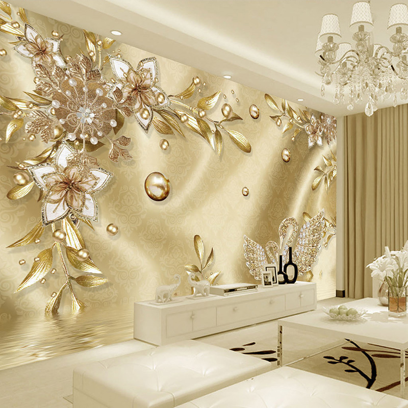 Custom Photo Wallpaper 3D Stereo Golden Flower Jewelry European Style Luxury Murals Living Room TV Hotel Backdrop Wall Paintings