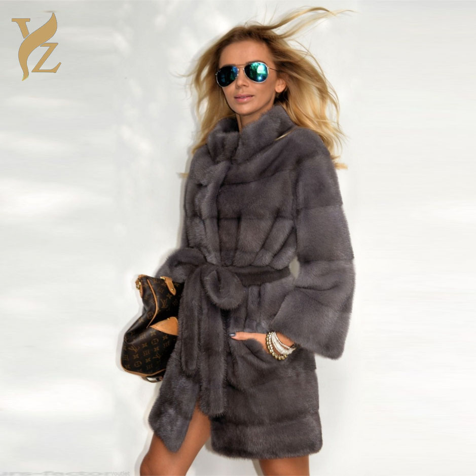 Whole Skin Natural Mink Fur Coat Luxurious Real Fur Jacket With Furry Belt Womem Designer Outerwear Tops High Street Mink Coats