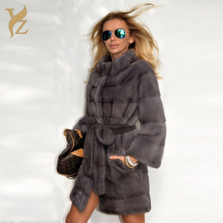 Wholeskin Mink Fur Coats For Women Luxurious Red Fox Fur Hood Warm Fur Coat Outer Garment Slim Mink Jackets Capped Winter 2018 Women's Clothing Real Fur