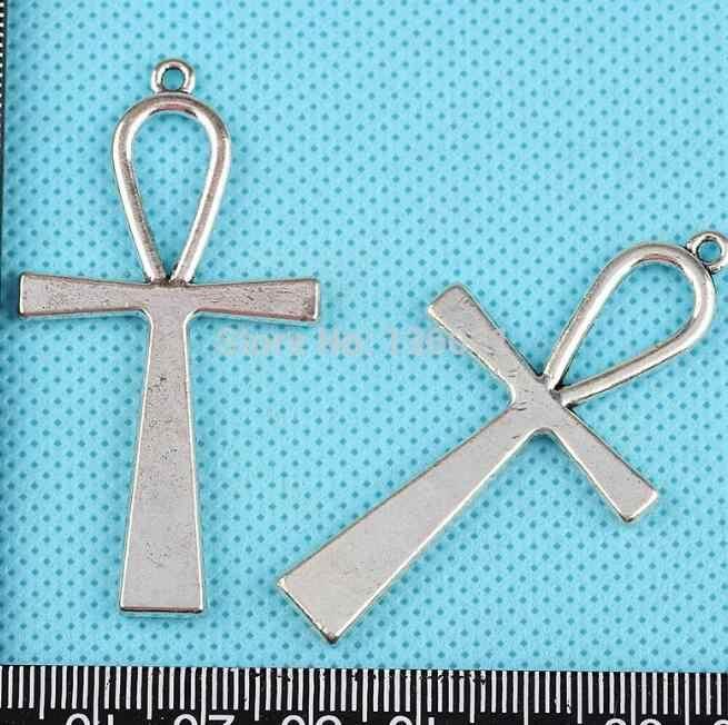 Vintage argent Ankh croix Crucifix lune fleur ange ailes noël thème crâne pendentif à breloques pour la fabrication de bijoux 10 pièces Z1265