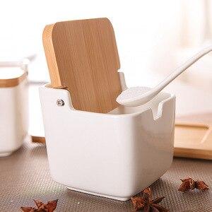 Image 3 - Stockage de sel, Pot à épices, cuisine, sucre, sel, porcelaine, bocaux à poivre, conteneur couvercle cuillère boîte en céramique couvercle en bambou, support à condiments pour assaisonnements