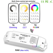 Bincolor DC12V-24V Multi Zone control dimming/CCT/RGBW Max 5x4A RF wireless remote+ Receiver controller for LED Strip Light все цены