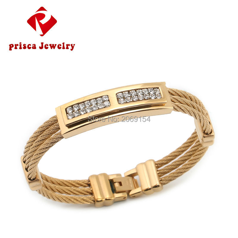 Gold Jewelry Charm Bracelet 2016 Men Classic Wristband Bangle Fashion Gold Bracelet Silver Jewelry Titanium Link Chain