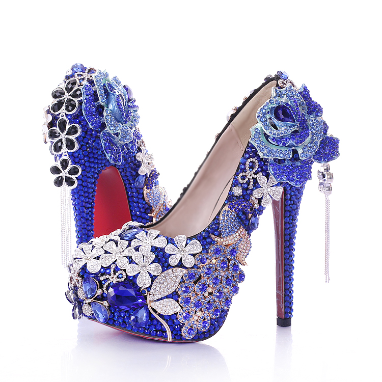 Blue Diamond Flower Bride shoes black tassel super waterproof Taiwan round wedding shoes high-heeled party shoes ladies shoes