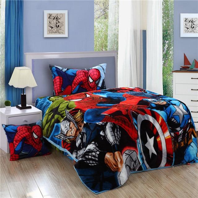 Marvel The Avengers Fleece Bedding Set For Boys/Children Winter Superhero  Twin Size Beddings/