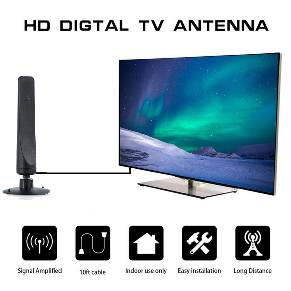 Free Clear Indoor 500 Miles 28dBi HDTV Antenna TV Aerial For Digital DVB-T2 Isdb-tb Fox Freeview Satellite Dish Receiver
