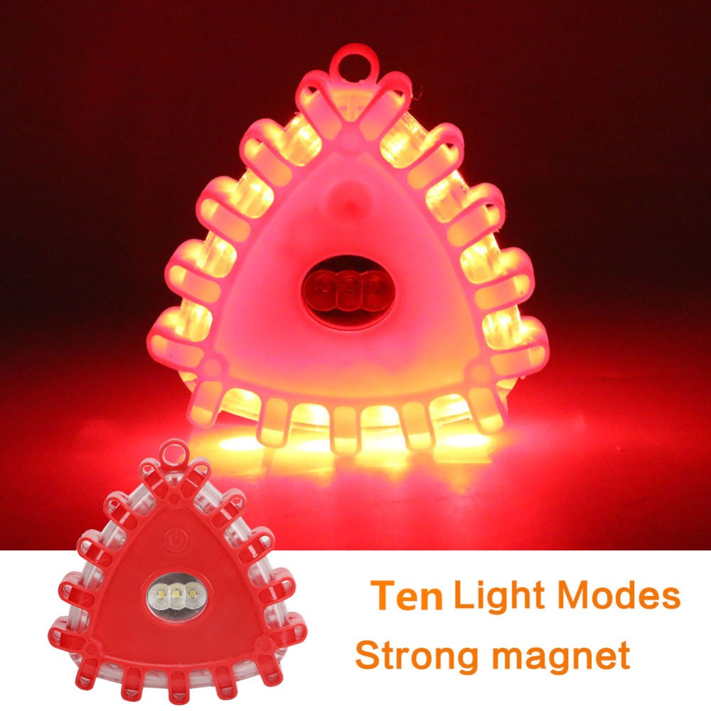 Mini LED Emergency Magnetic Hook Work Flashlight 15LED 10 Mode Road Safety Flare Roadside Warning Flashing Light For Car Bicycle