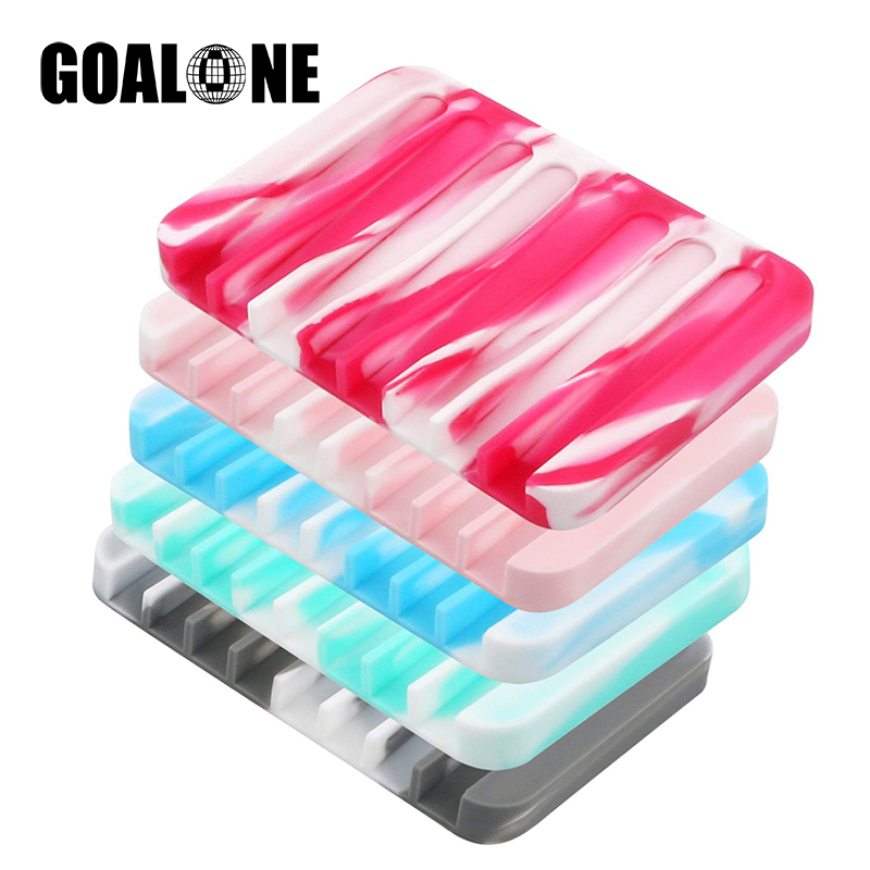 GOALONE 5Pcs/Set Silicone Soap Dish with Concave Self Draining Ant-Slip Holder Saver Flexible Tray Drainer for Travel