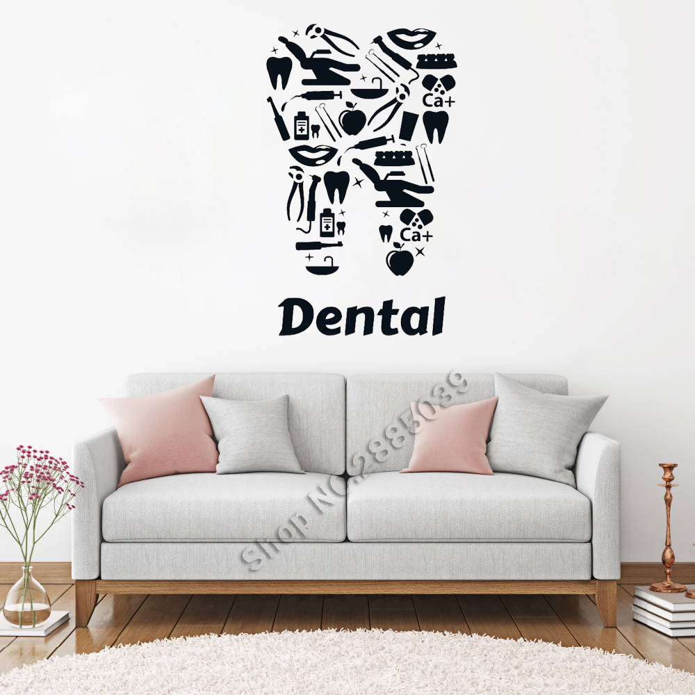 New Design Vinyl Wall Decal Dental Clinic Dentists Tooth Tools Stickers Art Home Decor Unique Mural Living Room Wallpapers LC137(China)