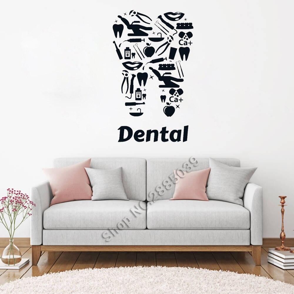 Nouveau Design Vinyle Sticker Dentaire Clinique Dentistes Dent Outils Autocollants Art Décor À La Maison Unique Fresque Salon Chambre Fonds D'écran LC137