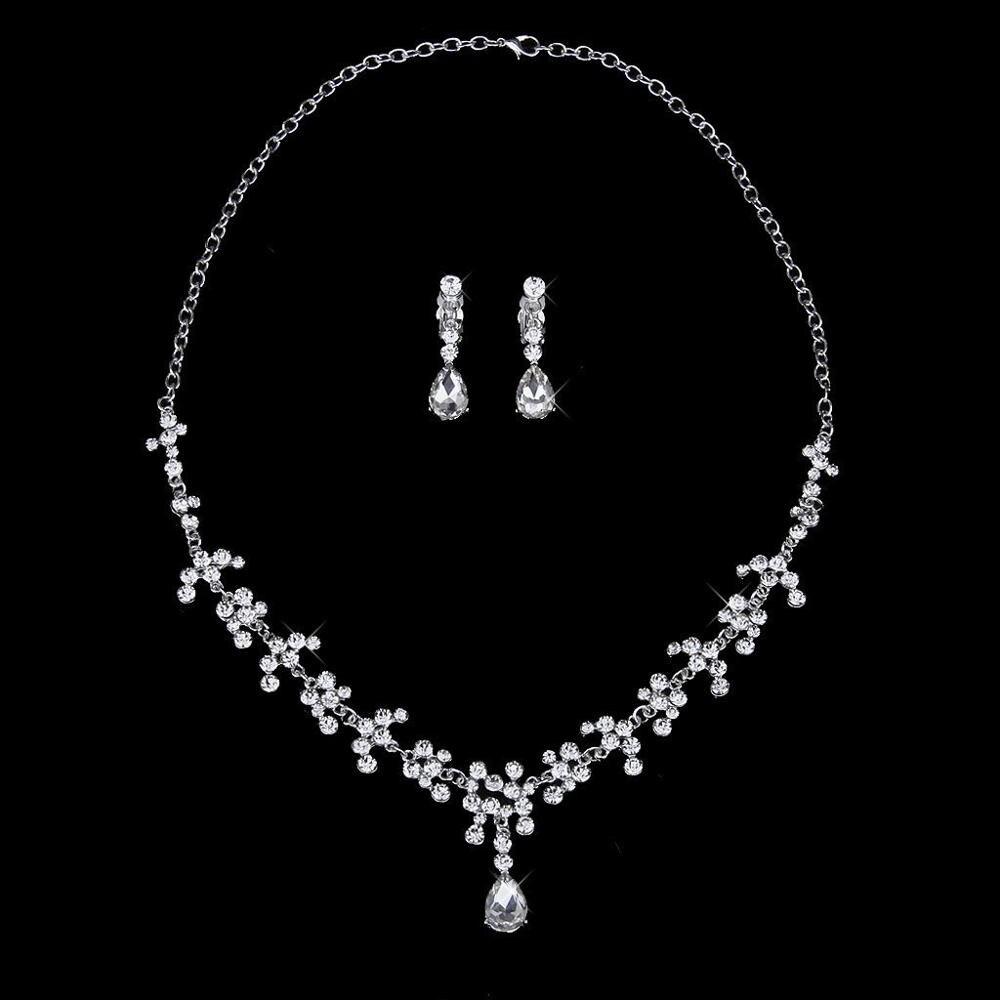 Bridal Wedding Jewelry Set Rhinestone Tiara Crown Necklace Earrings (3)