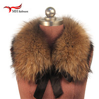 Fashion Fur Scarf Real Raccoon Dog Fur Collars with Ribbon Real Fur Stole for Wool Coats 50CM And 60CM L03