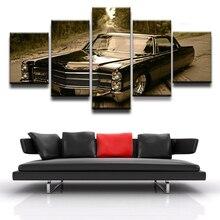 Decortive Room Artwork Poster Canvas HD Printed Modular Picture Modern Home Wall Art Framework 5 Pieces Retro Black Car
