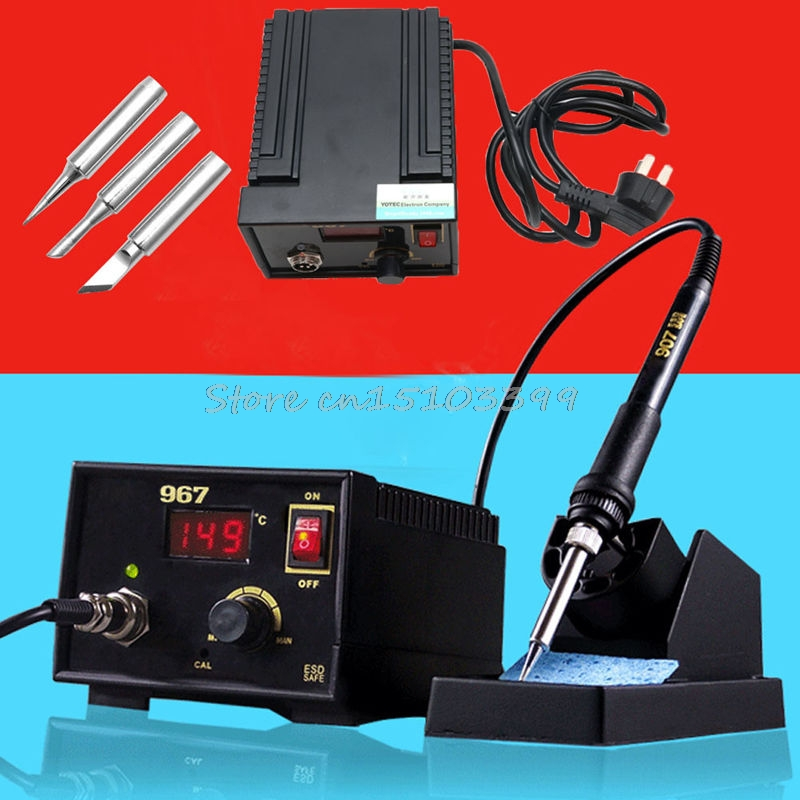 110V 220V 967 Electric Rework Soldering Station Iron LCD Display Desoldering SMD