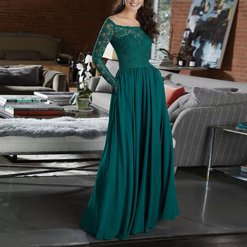 Sexy Boat Neck Green Lace A line Bridesmamid Dresses Long Sleeves Prom Dress robe demoiselle d'honneur