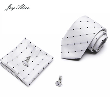 New Arriving Red Mens Tie 2018 Brand Silk Jacquard Woven Hanky Cufflinks Set for Wedding office group business ties
