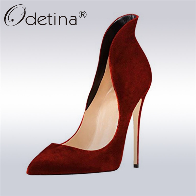 Odetina New Fashion Ladies Elegant Pointed Toe Pumps Women Slip On Super High Heels 12cm Stiletto Women Dress Shoes Plus Size 43 women high heels plus size 32 42 sexy office pointed toe wedges shoes slip on women pumps fashion mixed color ladies shoes