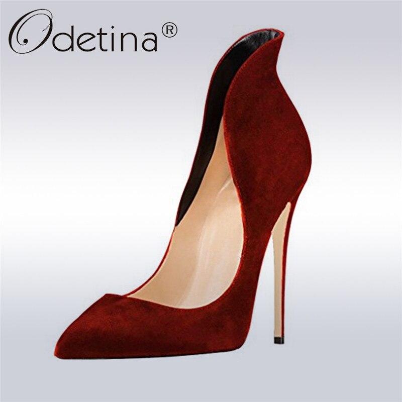 Odetina New Fashion Ladies Elegant Pointed Toe Pumps Women Slip On Super High Heels 12cm Stiletto Women Dress Shoes Plus Size 43