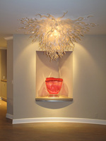 Wihte Color And Glass Material Luxury Chandelier Villa Hotel Design