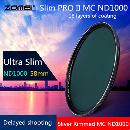 58mm New Zomei Ultra Slim MC ND1000 ND3 0 1000X 10 Stop Sliver Rimmed Glass Neutral