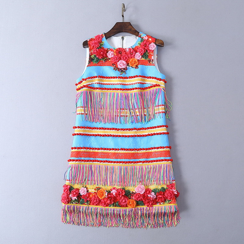 Three dimensional flower 2019 summer new ball tassel decorative beaded vest dress women s dress