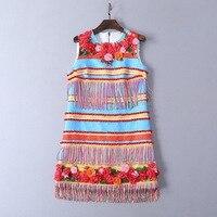 Three dimensional flower 2019 summer new ball tassel decorative beaded vest dress women's dress