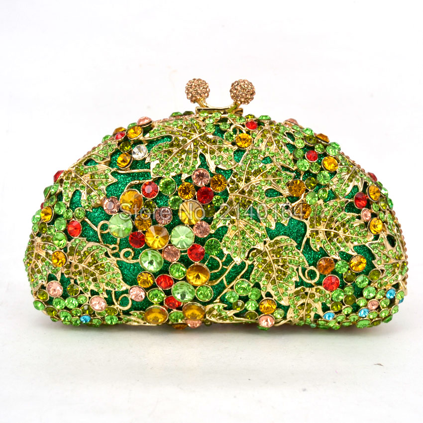 Flower Crystal Evening Bag Clutch Bags Clutches Wedding Purse Rhinestones Wedding Handbags green Evening Bag (88173) faux crystal mosaic clutch evening bag