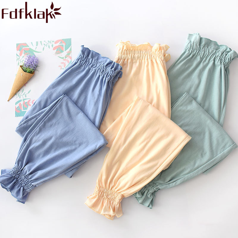 2019 New Sleeping Pajamas Pyjamas Trousers Spring Summer Home Pants Women Cotton Sleep Bottoms Women Home Trousers Fdfklak