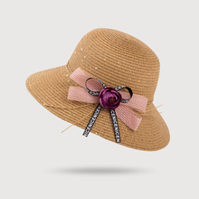 Spring and summer new sequins flowers straw hat Fashion ladies travel shade fisherman straw hat white straw fisherman sandals