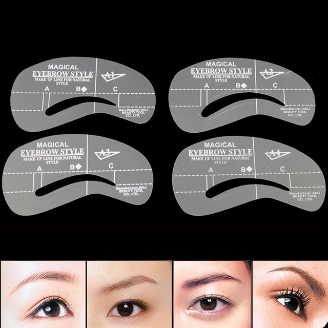 4Pcs Eye Brow Stencil For Eyes Pro Make Up Ruler Measurement Eyebrow Stencil Shape Mold Eyebrow Line for Eyebrow Tool Makeup DIY 3