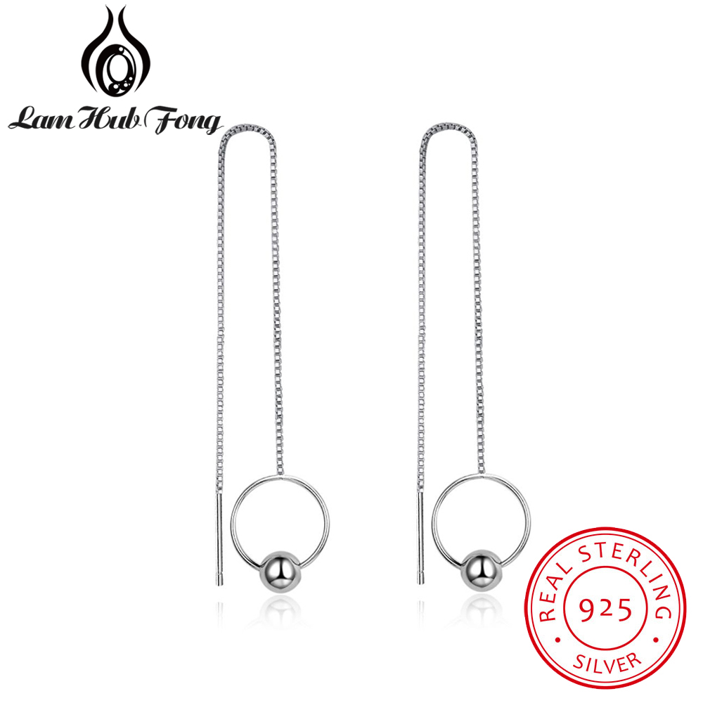 New 100% 925 Sterling Silver Circle & Ball Drop Earrings Long Chain Tassel Earrings For Women Girls Trendy Jewelry