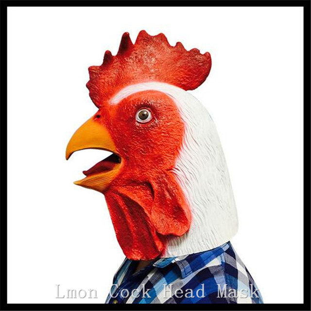 Party Cosplay Animal Chicken Mask Head Face Halloween Prop Carnival Latex Rubber