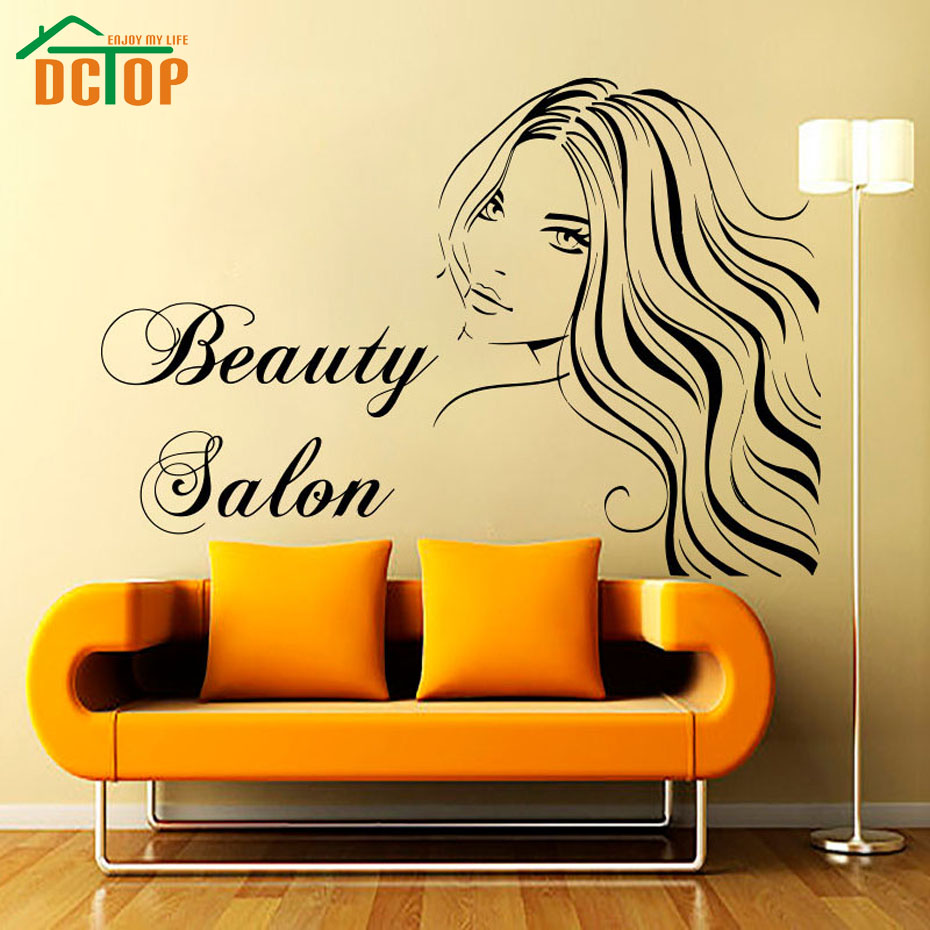 dctop long hair sexy lady art wall sticker beauty salon. Black Bedroom Furniture Sets. Home Design Ideas