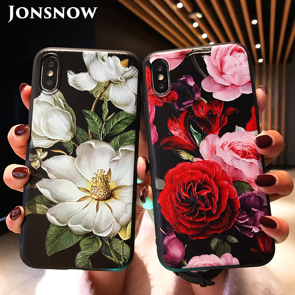KIPX1071_1_JONSNOW 3D Flower Emboss Case for iPhone 6 6S 7 8 Plus Painted Phone Cover for iPhone X XR XS Max Soft Cases