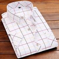 2017 Spring Autumn Classic Style Plaid Men Shirt Short Sleeve Plus Size Shirt Men Slim Fit