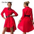 En la primavera de 2016 el nuevo carácter Europeo de pie dos irregular vestido de verano tamaño de la ropa