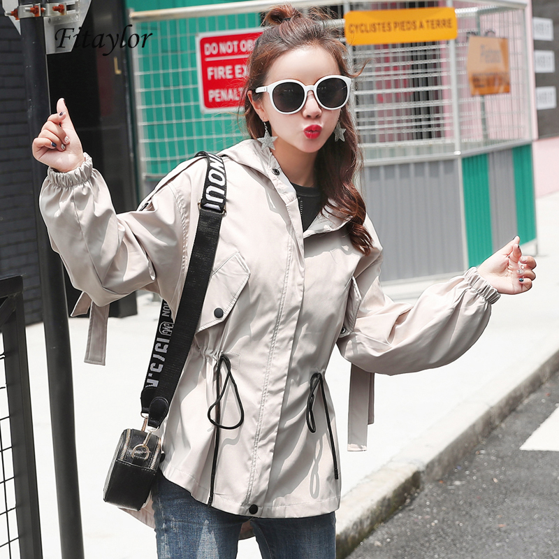 Fitaylor Windbreaker Coats Women Casual Hooded Spring Autumn Long Sleeve Tie Up Female Zipper   Trench   Coat Loose Outerwear