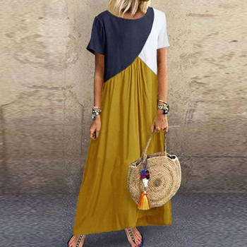 Lipswag 5XL Vintage Short Sleeve Long Dress Patchwork Casual Loose Plus Size Retro Maxi Dresses Women Summer O-neck Beach Dress 2