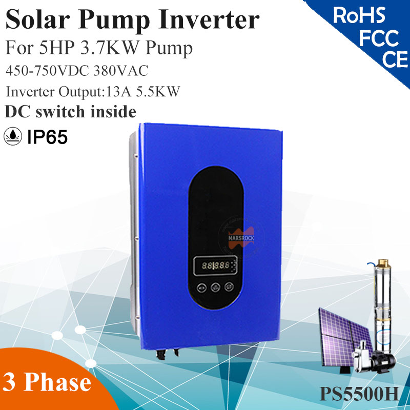 5.5KW 13A 3phase 380VAC MPPT solar pump inverter with IP65 for 5HP 3.7KW water pump DC switch inside solar pump inverter professional design 3 phase ac pump inverter 2 2kw customized inverter