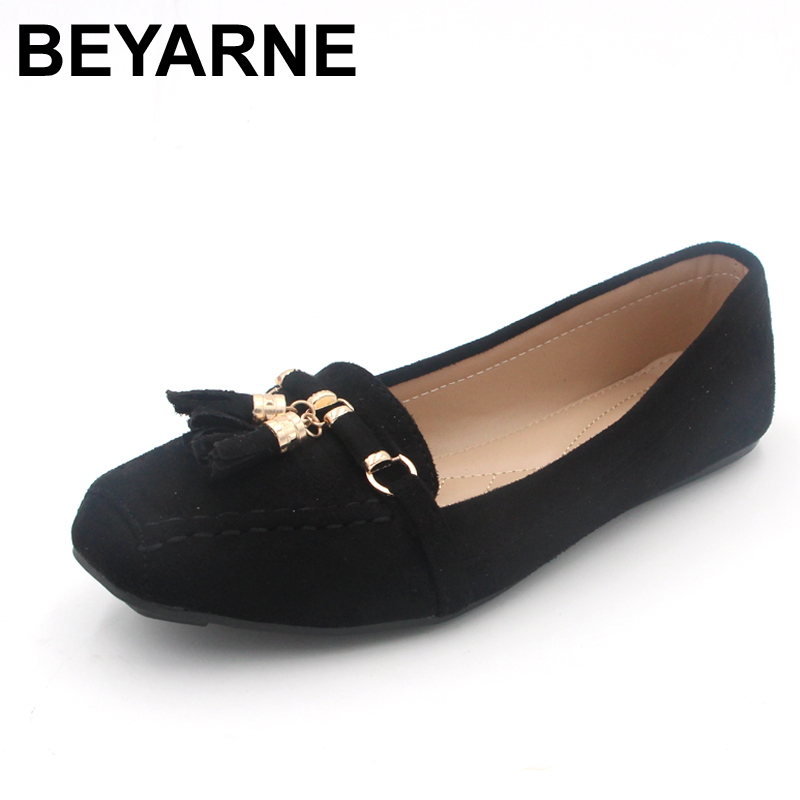 BEYARNE New 2017 Spring Autumn Flats Women Brand Shoes Fashion Womens Flats Elegant Loafers Woman Soft Sole
