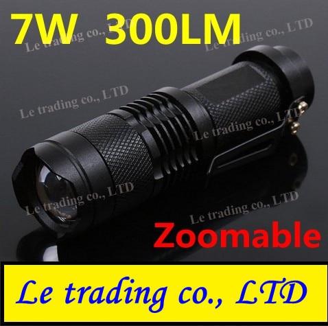 Mini LED Torch 7W 300LM CREE Q5 LED Flashlight Adjustable Focus Zoom flash Light Lamp free shipping wholesale