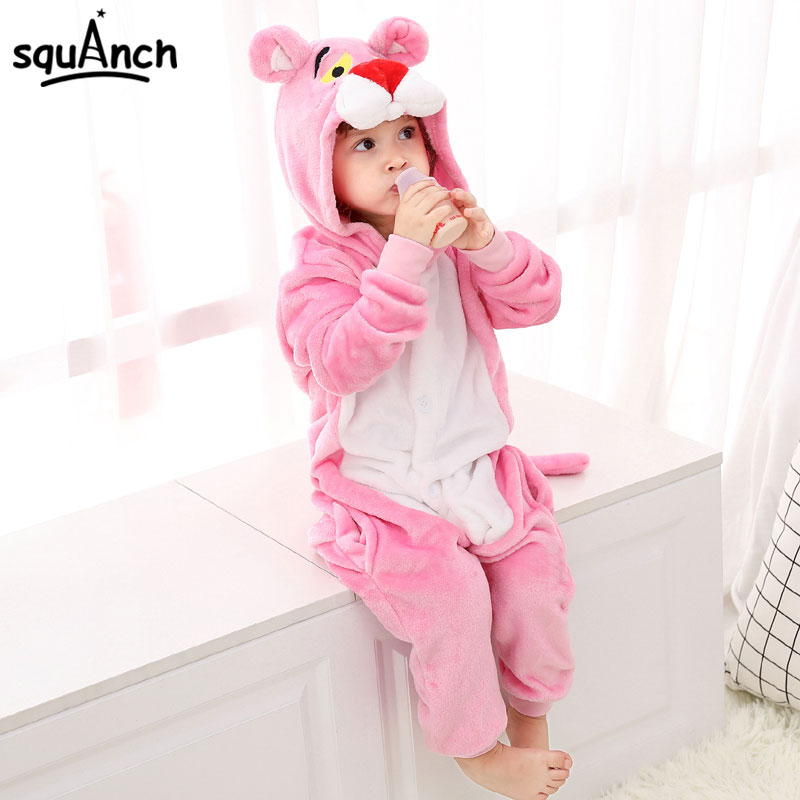 Pink Animal Kigurumis Panther Onesie Kids Child Sleepwear Funny Jumpsuit Winter Warm Pajama Cute Overalls Carnival Party Outfit