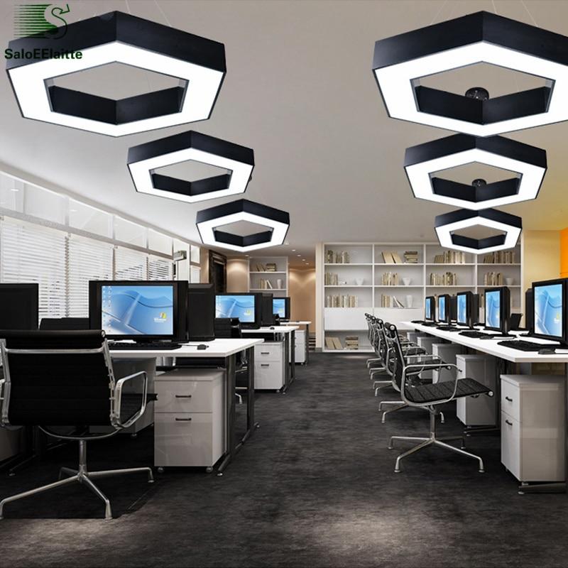 Modern Office Hexagon Led Pendelleuchte Minimalismus Metall Anhänger - Innenbeleuchtung - Foto 4