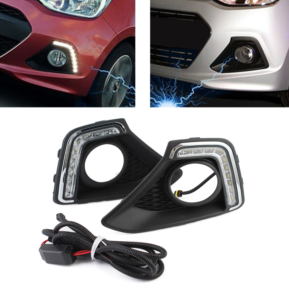 White Auto Car LED Daylight DRL Daytime Running Light Driving Fog Lamp For Hyundai I10 2013-2014 Free Shipping D35 wljh 2x car led 7 5w 12v 24v cob chip 881 h27 led fog light daytime running lamp drl fog light bulb lamp for kia sorento hyundai