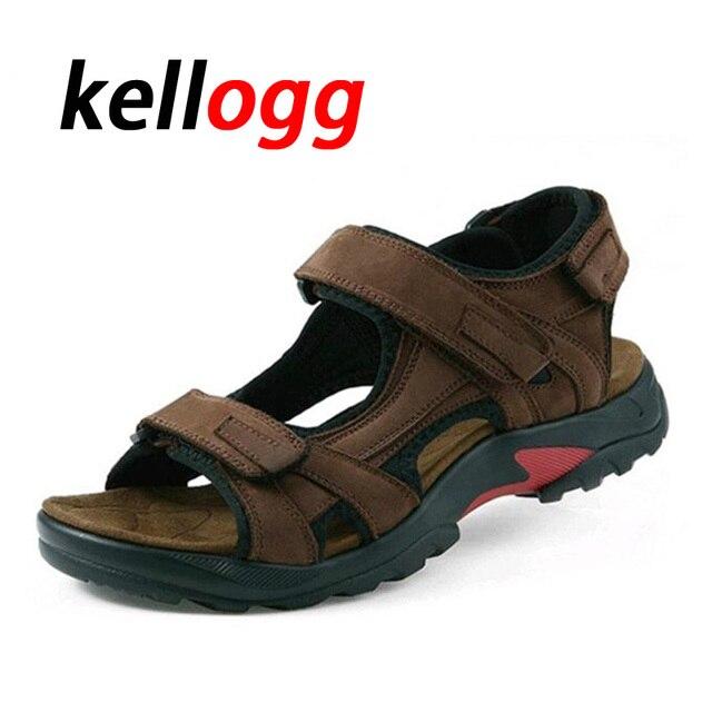 Hommes sandales pantoufles en cuir véritable C7dVhE