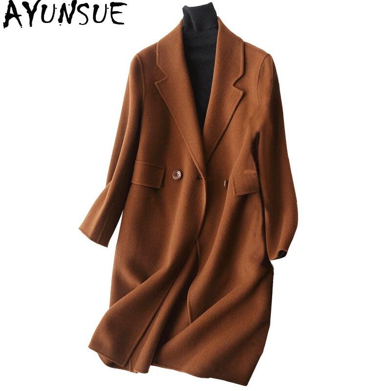 AYUNSUE 2019 Mode 80% manteau de laine Femelle Face Cachemire Manteaux Moyen-Long manteau d'hiver femmes veste matelassée 37008-1 WYQ1156