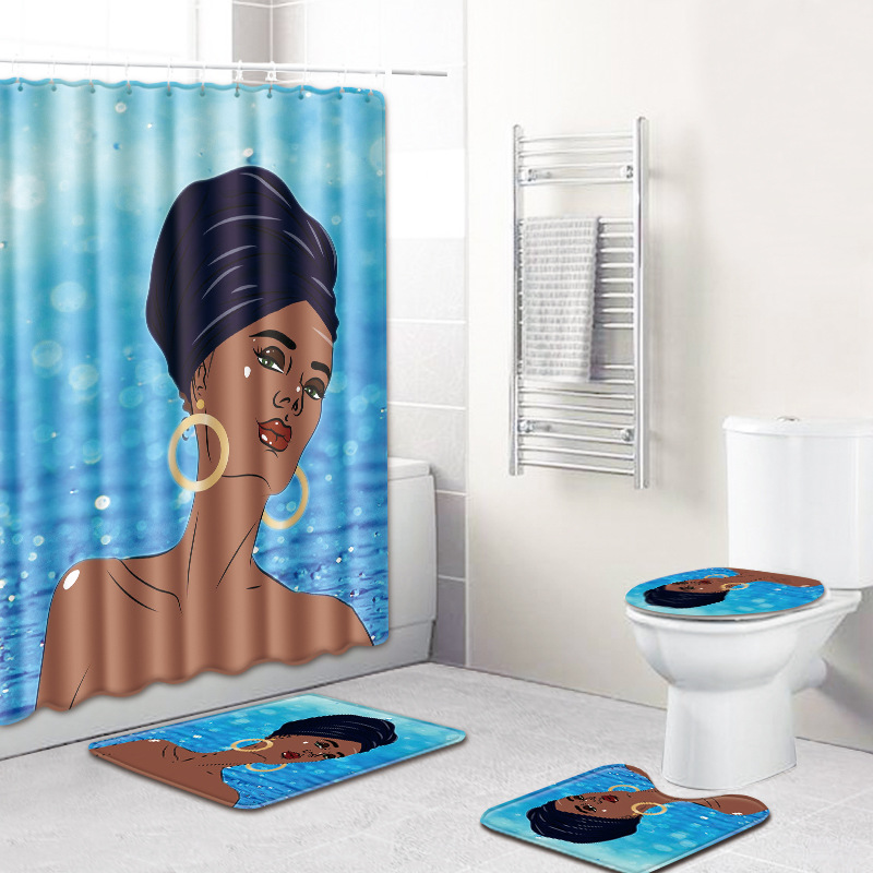 HTB164KFUwHqK1RjSZFgq6y7JXXab - American style African sexy curls woman pattern waterproof shower curtain bathroom with hook anti-slip mat toilet mat set