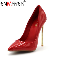 ENMAYER Super High Heels Pumps Sexy Red Stilleto Pointed Toe Slip On Shoes For Party Wedding